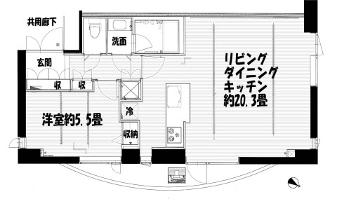 トワ・イグレック 702号室間取り図のコピー