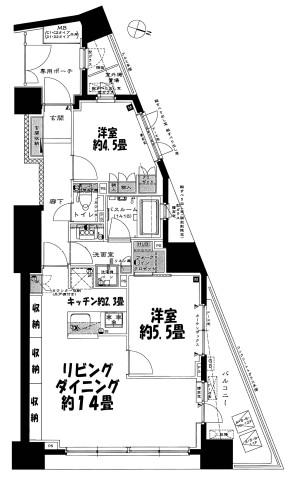 ライオンズ日本橋浜町804 間取り図【訂正ズミ】