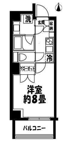 クレストコート菊川 間取図1K
